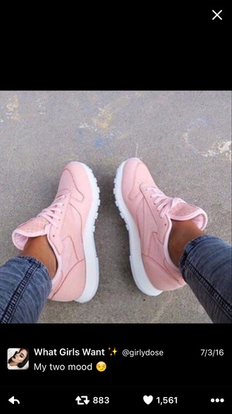 shoes light pink sneakers pink sneakers low top sneakers reebok