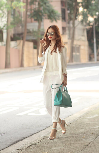 mellow mayo blogger sunglasses cropped pants off-white white blazer purse classy office outfits