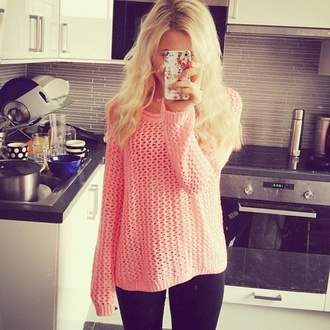 sweater fashion blonde hair knitwear clothes iphone cover jewels coral platinum hair knitted sweater blouse cute top style