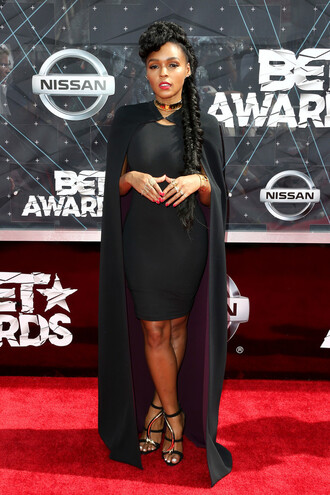 dress cape bet awards sandals all black everything janelle monae