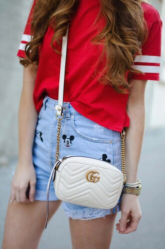 t-shirt tumblr red t-shirt bag white bag gucci gucci bag shorts disney mickey mouse denim denim shorts