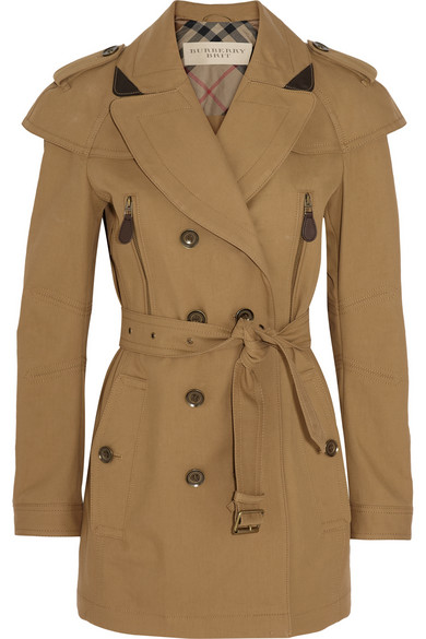Burberry Brit | Short leather-trimmed cotton-twill trench coat | NET-A-PORTER.COM