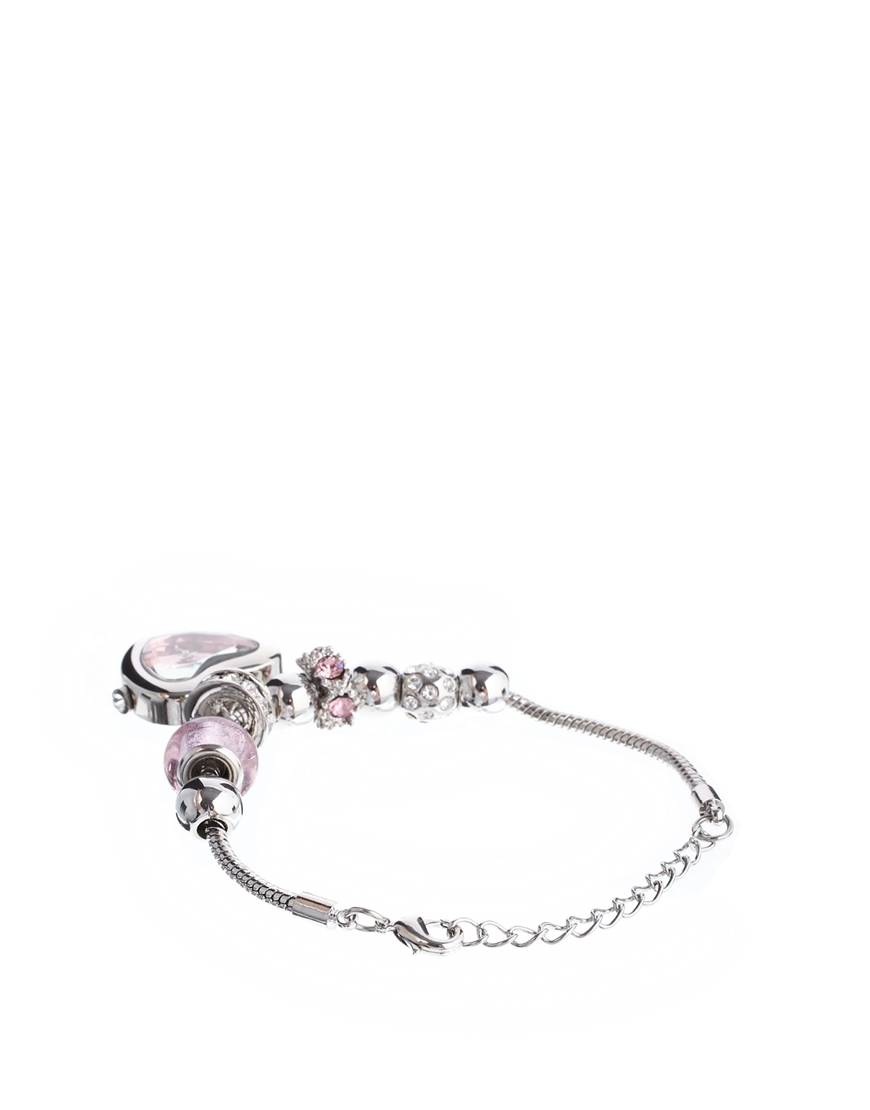 Lipsy Pink And Silver Charm Bracelet Watch With Pink Heart Dial at asos.com