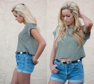 top shorts striped shirt crop tops boxy top top coachella denim shorts vintage shorts blouse