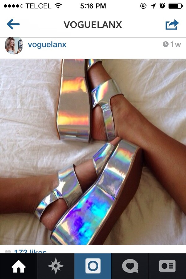 Hair accessories natural black hair - Silver Holographic Flatform Sandals Wedges Shoes