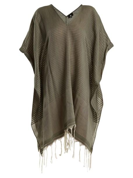 SU tassel cotton khaki top
