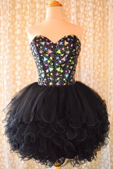 multicolor noir robe bustier dress