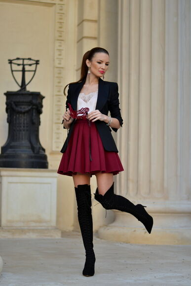 my silk fairytale blogger top jacket skater skirt thigh high boots burgundy tailoring
