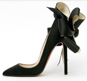 shoes,louboutin,black satin,bow,high heels