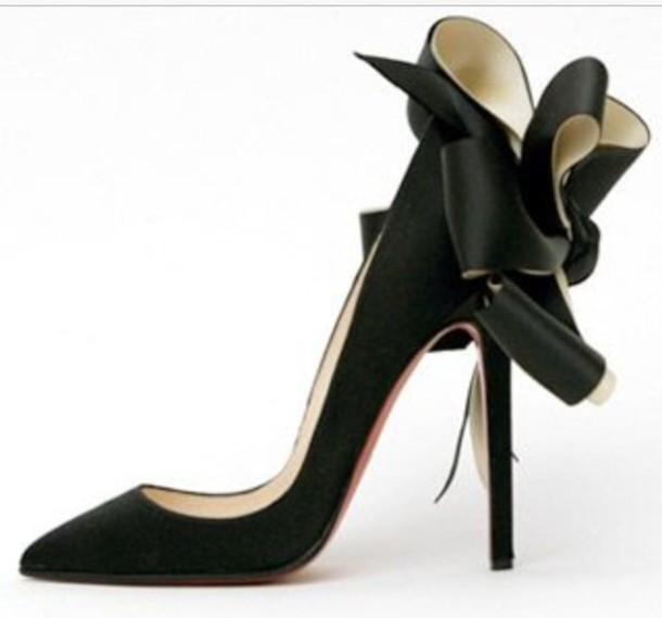 shoes louboutin black satin bow high heels wheretoget