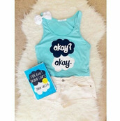 the fault in our stars,shorts,shirt,blue shirt,tank top,top,crop tops,hair accessory