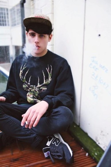 deer tumblr sweater hipster boy black grunge