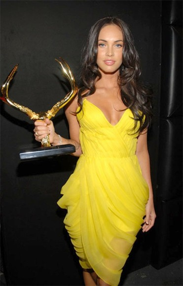 dress megan fox yellow sexy