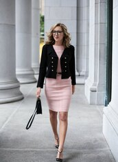 the classy cubicle,blogger,belt,bag,jewels,pink dress,black blazer,black bag,bodycon dress,black heels