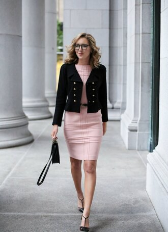 the classy cubicle blogger belt bag jewels pink dress black blazer black bag bodycon dress black heels