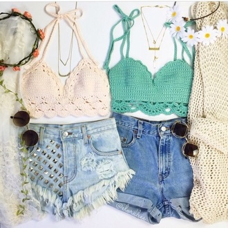 shorts denim shorts studded shorts top hat