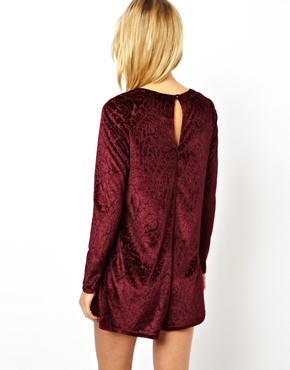 ASOS | ASOS Smock Playsuit in Velvet at ASOS
