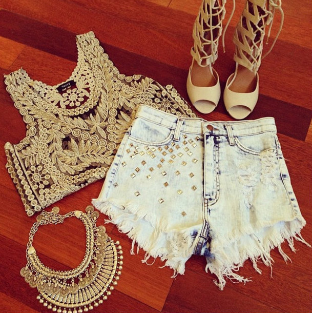 shorts necklace shirt shoes jewels statement necklace denim shorts gold top boho gypsy tank top crochet top lace top