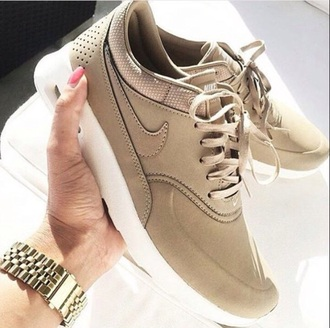 shoes footwear trendy cute sporty nike tan brown sneakers kicks sports shoes sportswear workout running shoes running nike running shoes air max nike air max thea beige nike shoes tumblr shoes
