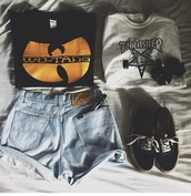 shirt,batman,wu-tang clan,thrasher,black,grey,stars,starbucks coffee,sweater,shorts