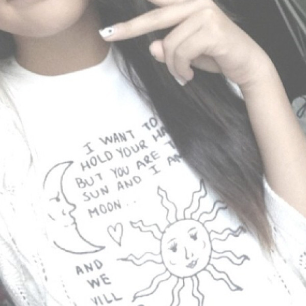 shirt sun moon heart t-shirt quote on it quote on it