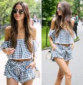 shorts,misa los angeles,blue and cream,gingham,plaid,blue and white,summer,summer outfits,matching set,2 piece short set,blogger,top
