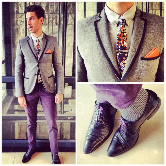 prom purple floral jacket sergio ines blazer orange boys suit tuxedo dress up fancy dapper gentleman lined splatter shoes gq h&m calvin klein pocket square piped blue piped blazer whatmyboyfriendwore
