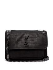 bag,shoulder bag,leather,crocodile,black