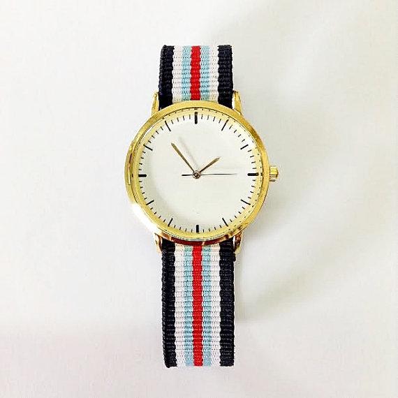 Freeforme Watch - Taft Avenue , Vintage Style Leather Watch, Women Watches, Boyfriend Watch , Men's Watch, Nylon , Stripes