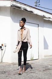 locks and trinkets,blogger,shoes,black jeans,ripped jeans,nude,beige,blouse,choker necklace,black girls killin it,jewels,black choker,tie-front top,shirt,black ripped jeans,clear boots,transparent boots,black velvet choker
