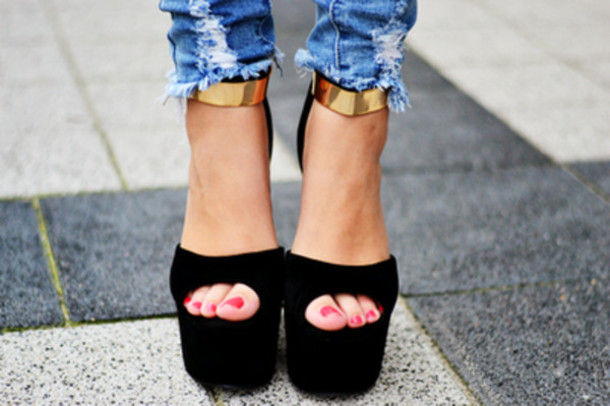 shoes black gold platform shoes high heels footwear tumblr classy instagram open toes