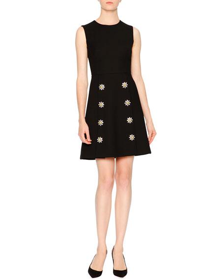 Embellished-Daisy Double-Breasted Coat & Sleeveless Dress
