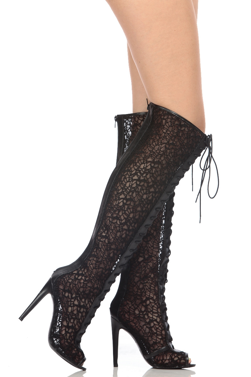 e0a6b847d24 ... Catalog Women S Winter Leather. Black Crochet Thigh High Lace Up P Toe Boots  Cicihot