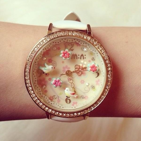 jewels watch watch birds pink pastel cute women watches white