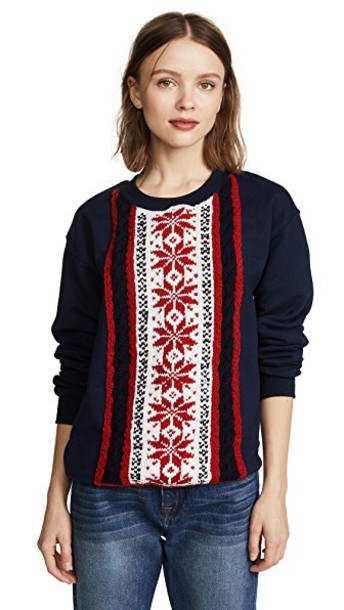 Michaela Buerger sweatshirt snowflake blue red sweater