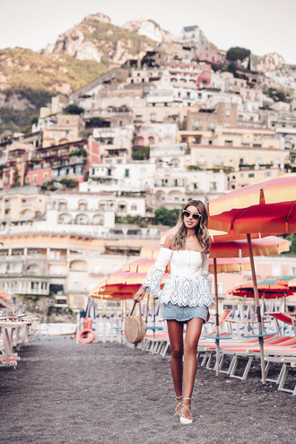viva luxury blogger top skirt sunglasses jewels white blouse round bag summer outfits off the shoulder top