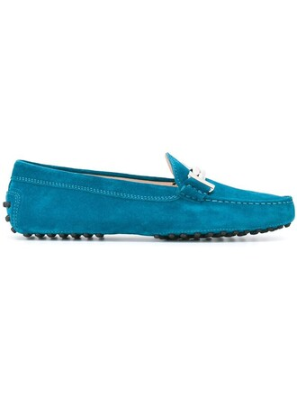 women loafers leather blue shoes