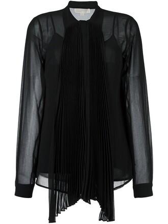 shirt bow sheer women black top