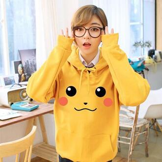 sweater pokemon pokemon and stich hood cute cute outfits kawaii kawaii outfit yellow sweater