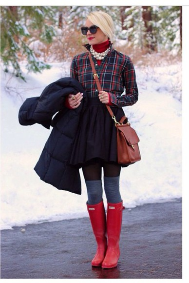pearl boots blouse tartan plaid red winter outfits sweater statement necklace cute stylish preppy socks jewels bag hunter boots wellies