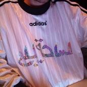 adidas,arabic calligraphy,glitter,cyber ghetto,soft ghetto,sweater,pink,shirt,t-shirt,trendy,cute,girly,dope,instagram,tumblr,jacket,arabic,silver,holographic,reflective,adidas shirt,top,arabic adidas shirt jersey