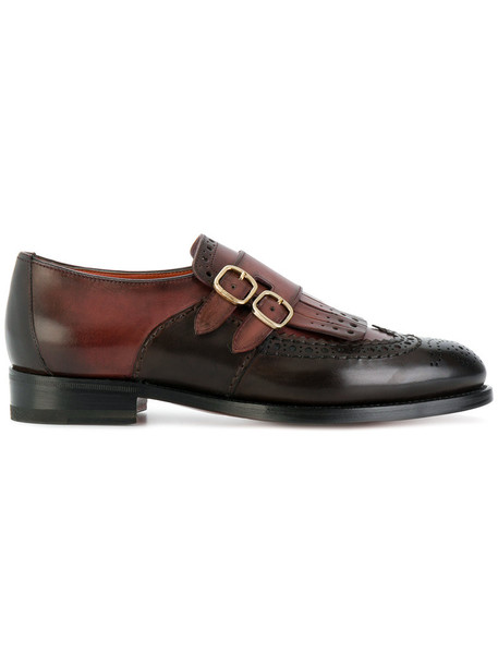 Santoni women loafers leather brown shoes