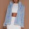 Baia faux fur coat with collar - blue
