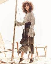 fashiongonerogue,blogger,sweater,tank top,top,skirt,belt,blouse,cardigan,pants,sandals,pleated skirt,sparkly sweater,spring outfits