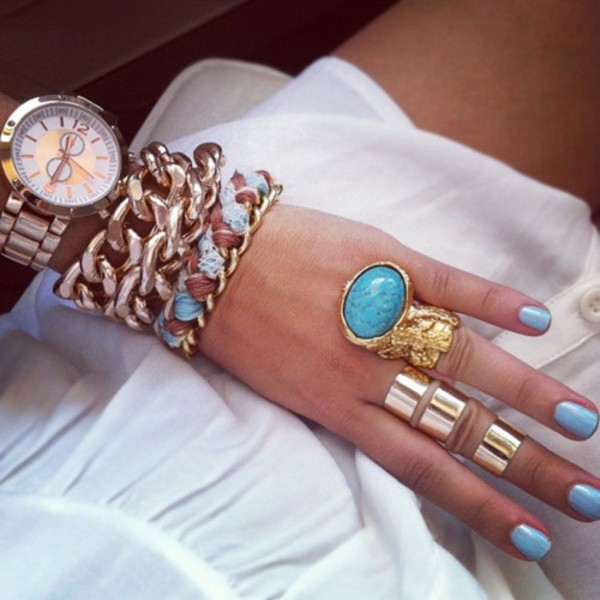 jewels stone ring gold mid ring watch bracelets blue opal
