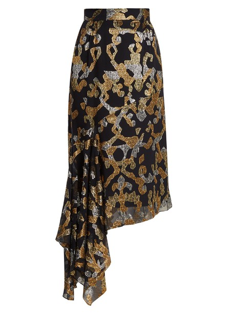 skirt midi skirt midi silk gold black