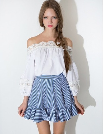 skirt stripes blue and white blue white striped skirt cute summer summer skirt spring skirt pixie market pixie market girl