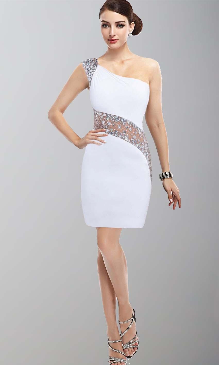Cute Sequin One Shoulder Bodycon Short White Grade Dress KSP396 ...