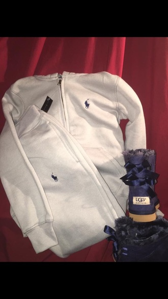 jacket polo shirt tracksuit polo tracksuit ugg boots outfit fall outfits ralph lauren
