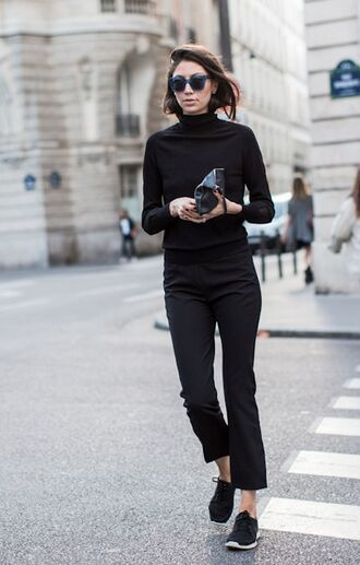 shoes black pants blogger black turtleneck top sunglasses black sneakers